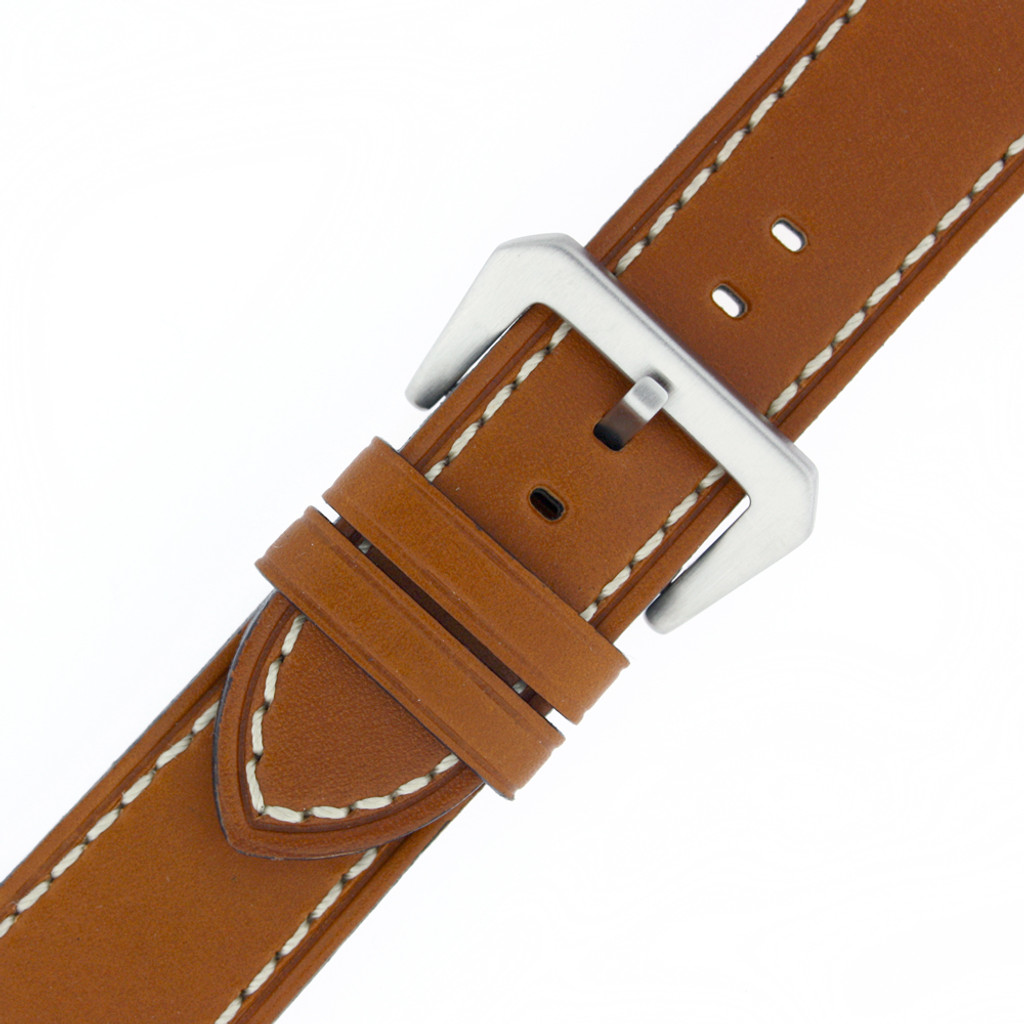 Leather Watch Band Tan White Stitching Heavy Buckle LEA494 | Buckle