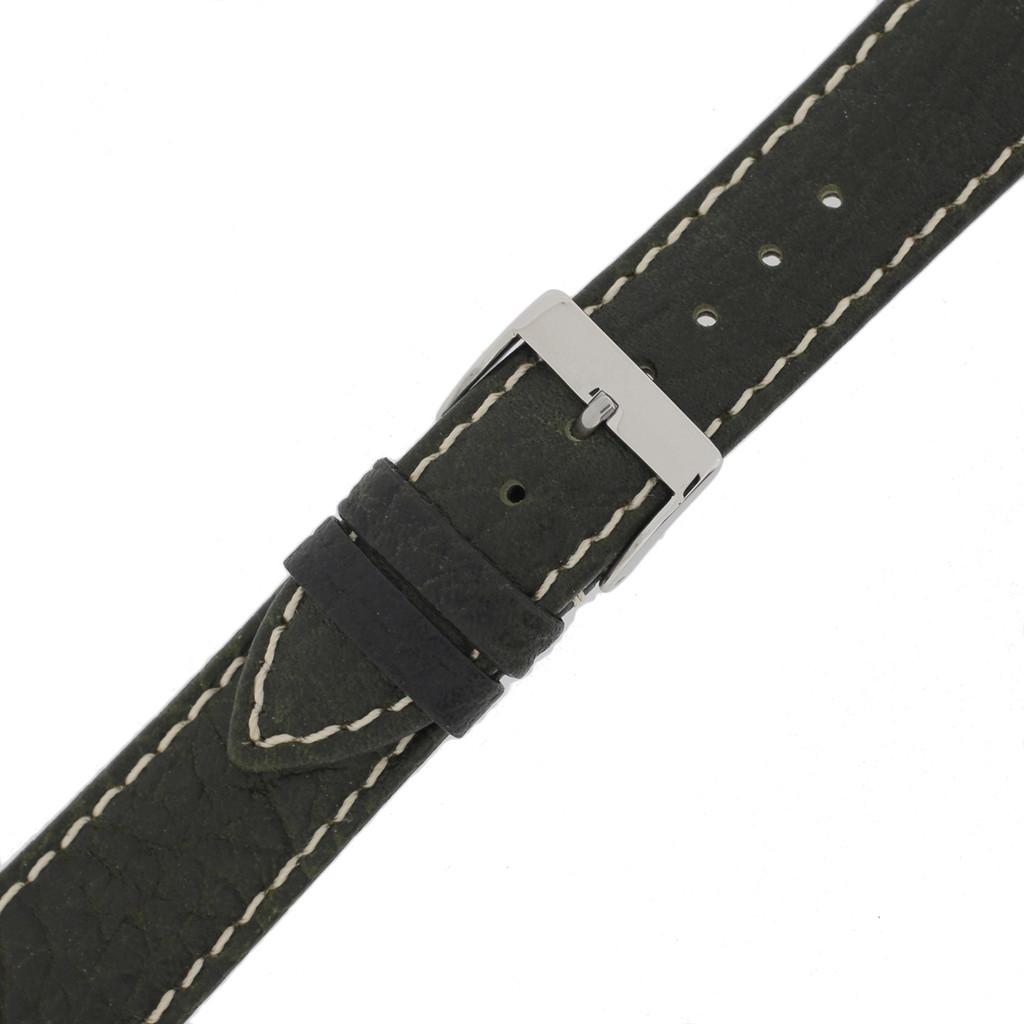 Dark Green Mens Waterproof Pebbled Leather Watch Band | TechSwiss TSA459 | Buckle