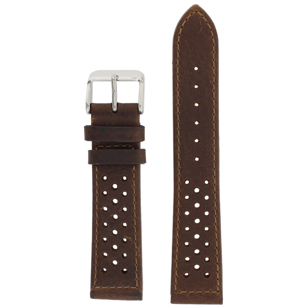 Brown Leather Watch Band Mens TSA420   Front