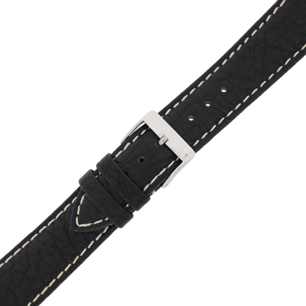 Waterproof Watch Band Water Resistant Leather Black LEA478