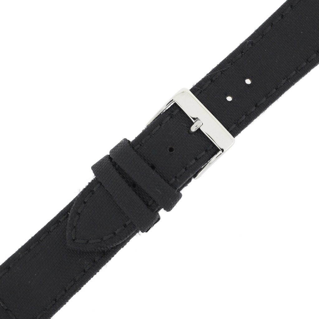 Black Canvas Sport Watch Band   Sporty Modern Watch Straps   Water Resistant Canvas Watch Bands   TechSwiss LEA1210   Buckle