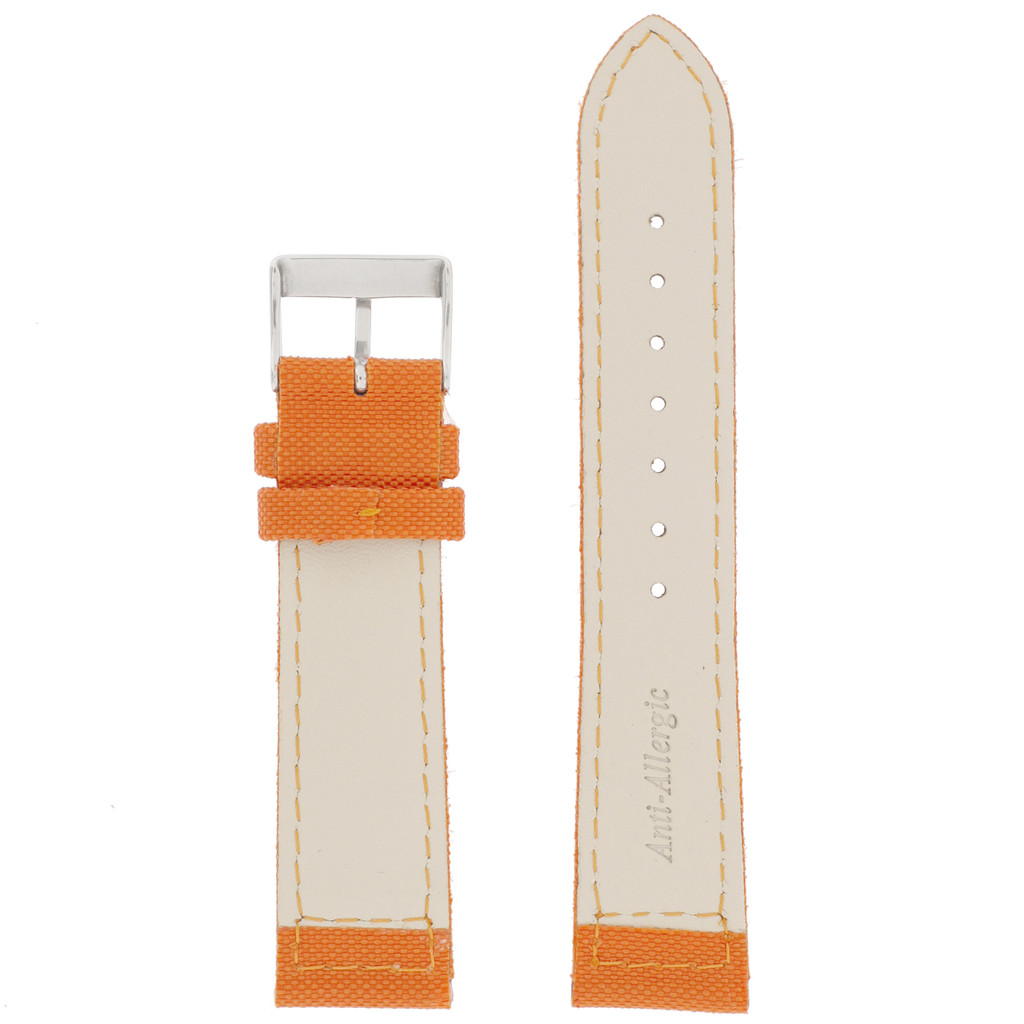 Orange Canvas Watch Band | Orange Water Resistant Strap | TechSwiss  LEA1230 | Lining