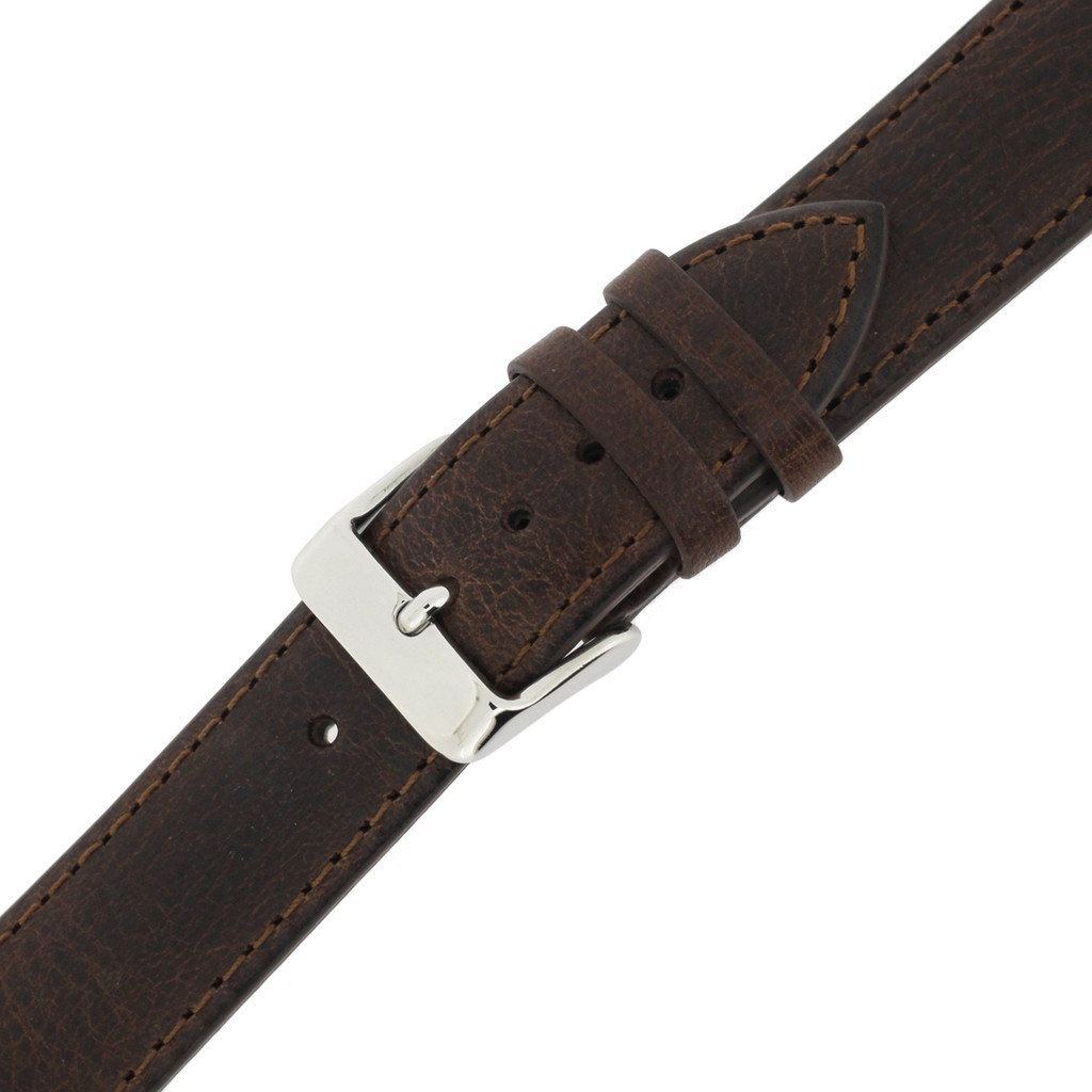 Extra Long Espresso Brown Leather  Watch Band | Extra Long Calfskin Leather Watch Straps | TechSwiss LEA1432XL | Stainless Steel Buckle