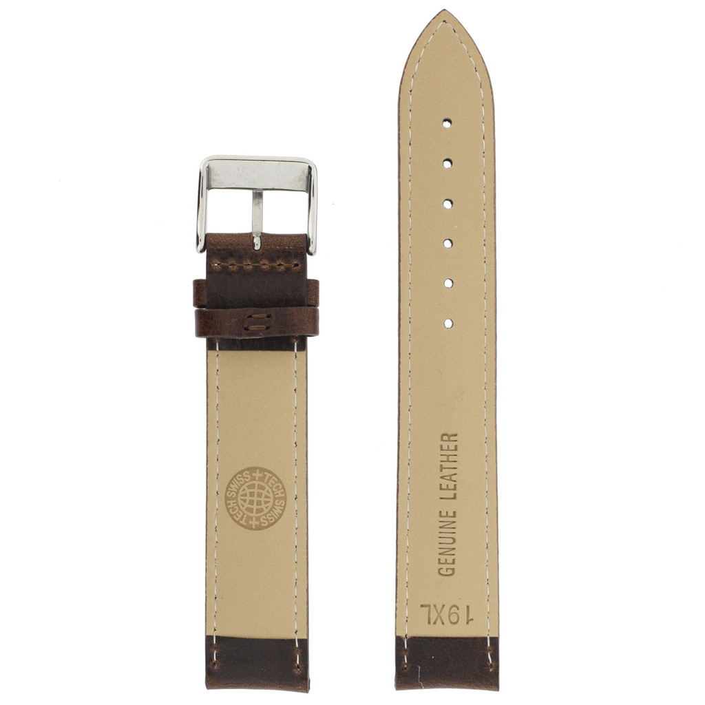 Extra Long Espresso Brown Leather  Watch Band | Extra Long Calfskin Leather Watch Straps | TechSwiss LEA1432XL | Lining