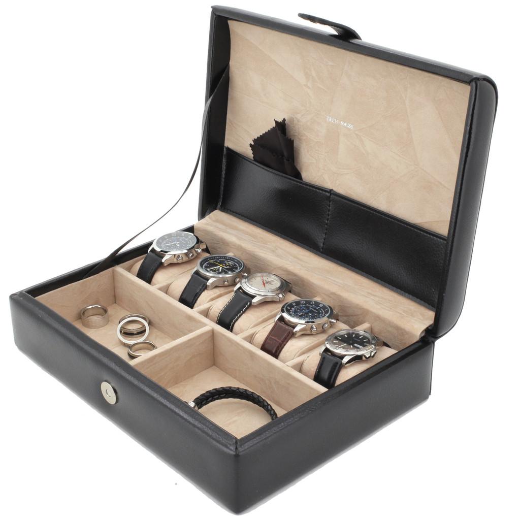Mens Leather Valet Dresser Top Watch Case | Striped Premium Mens Organizers | TechSwiss TS8654BLK | Main