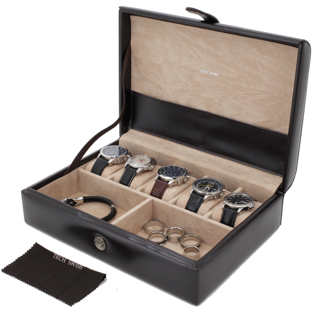 Open View Leather Watch Box TechSwiss TS8654BRN