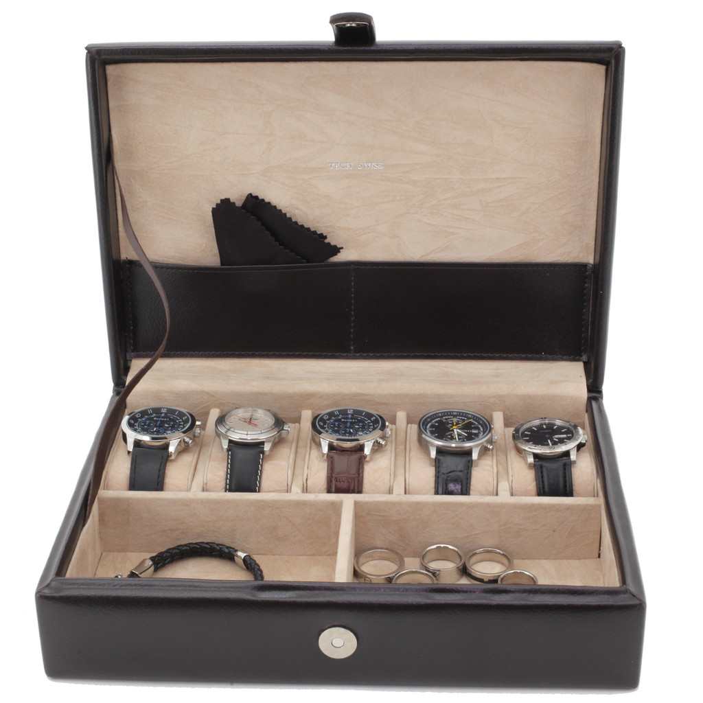 Leather Jewelry Watch Box TechSwiss TS8654BRN