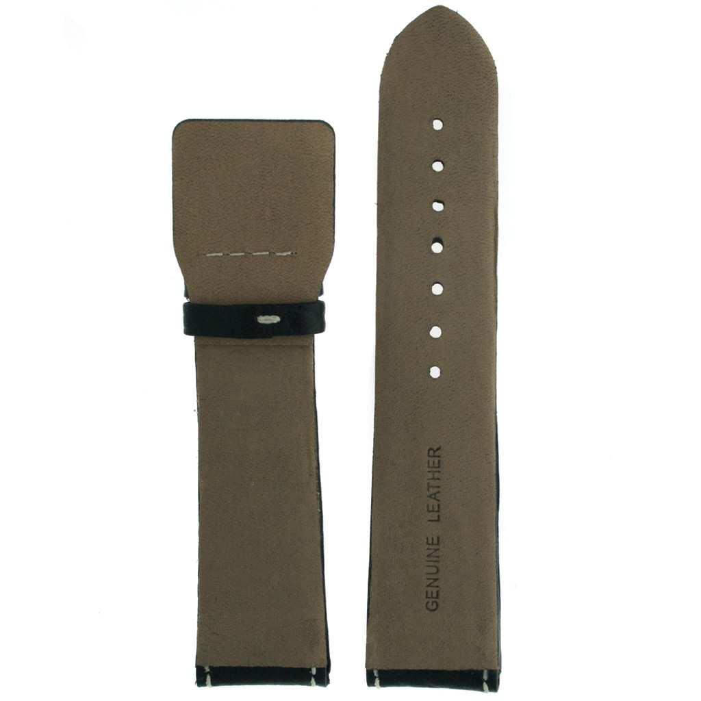 Italian Leather Watch Band in Black with White Contrast Stitching
