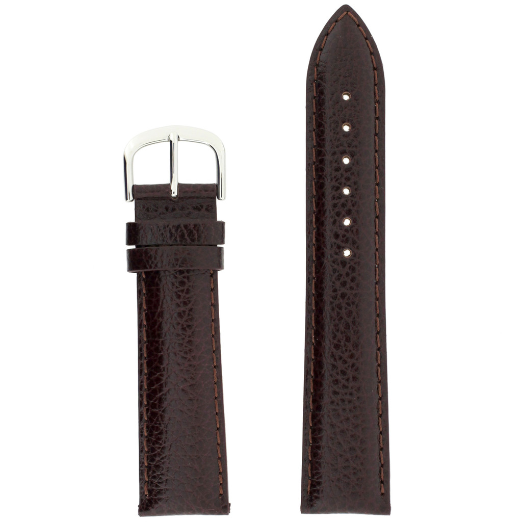 Brown Mens Leather Watch Band LEA1434 | Dark Brown Traditional Leather Watch Band | TechSwiss | Main
