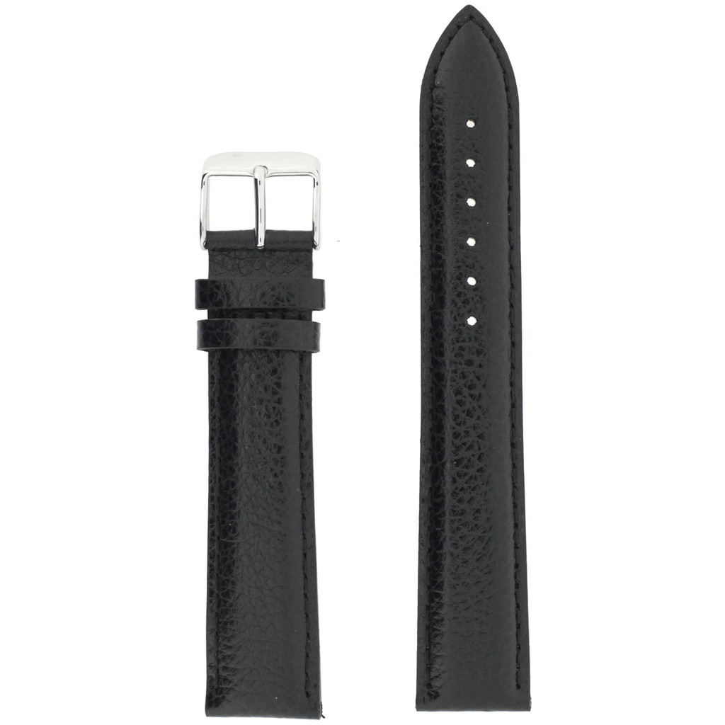 Black Long Leather Watch Band | Long Calfskin Watch Straps | TechSwiss  LEA1680 | Main