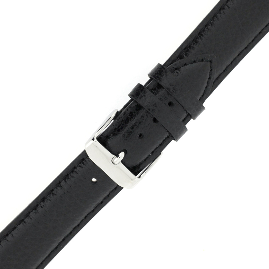 Black Long Leather Watch Band | Long Calfskin Watch Straps | TechSwiss  LEA1680 | Stainless Steel Buckle