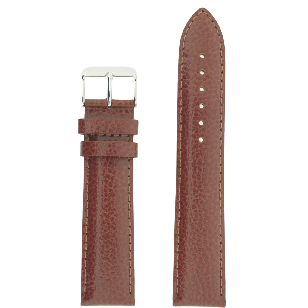 Long Saddle Brown Watch Band | Brown Calfskin Leather Watch Band | Stainless Steel Buckle | TechSwiss LEA1685 | Main