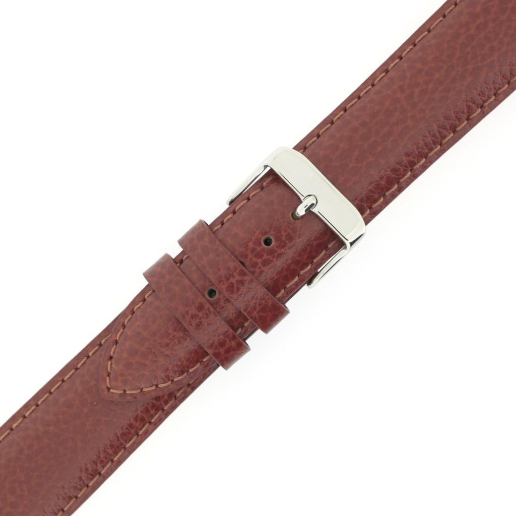 Long Saddle Brown Watch Band | Brown Calfskin Leather Watch Band | Stainless Steel Buckle | TechSwiss LEA1685 | Stainless Steel Buckle