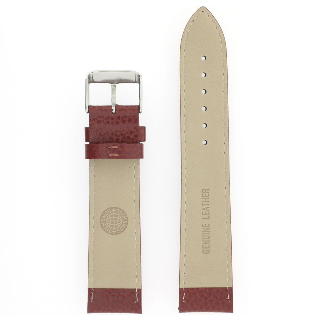 Long Saddle Brown Watch Band | Brown Calfskin Leather Watch Band | Stainless Steel Buckle | TechSwiss LEA1685 | Nubuck Lining
