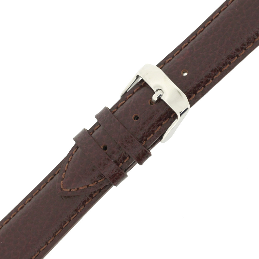 Long Dark Brown Leather Watch Band | Stainless Steel Buckle | Bourbon Brown Long Leather Watch Strap | TechSwiss LEA1690 | Stainless Steel Buckle