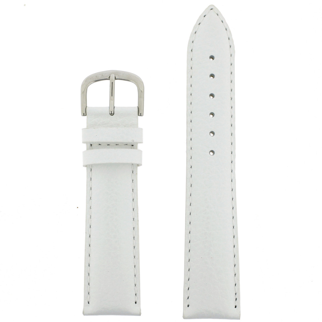 White Leather Watch Band | Classic White Watch Strap | Traditional White Leather Watch Band | TechSwiss LEA352 | Main