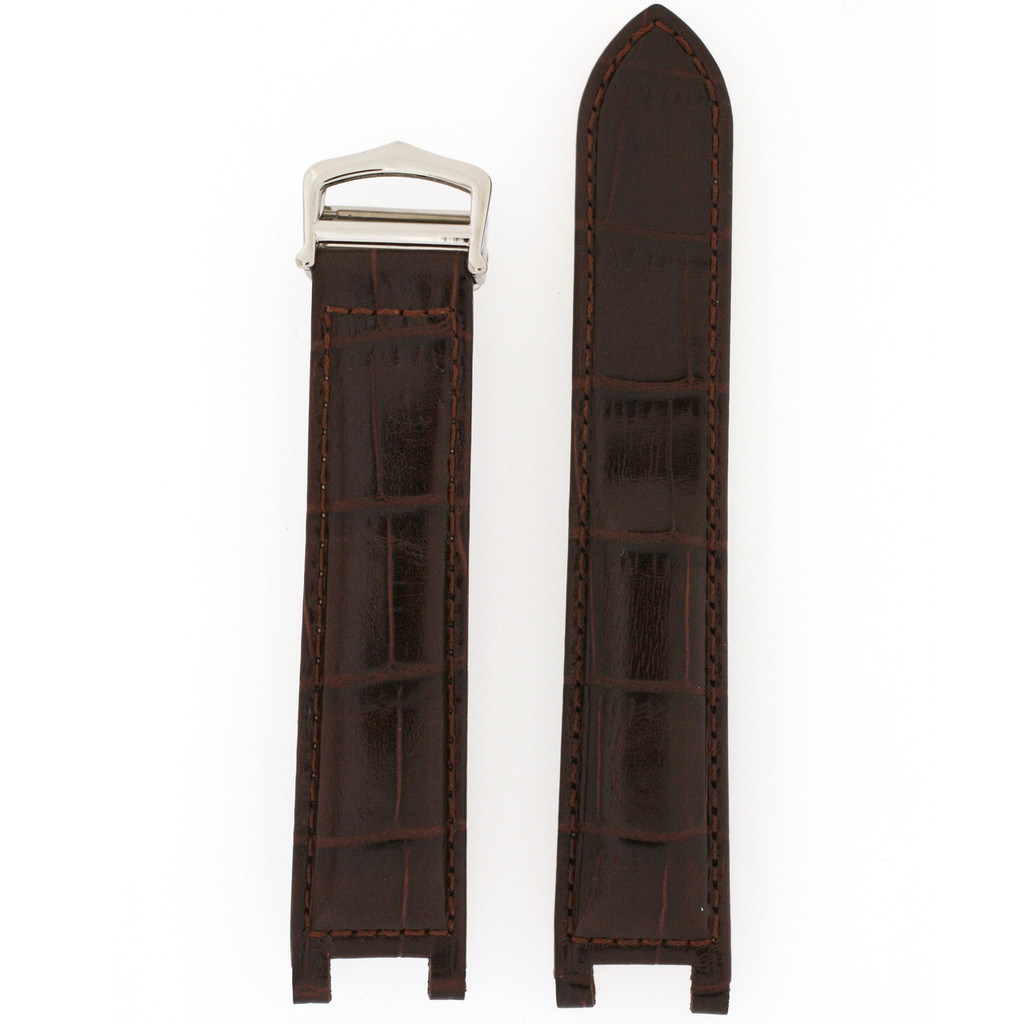 Dark Brown Leather Watch Band | Crocodile Grain Pasha Replacement Straps | TechSwiss LEAPABRN | Main