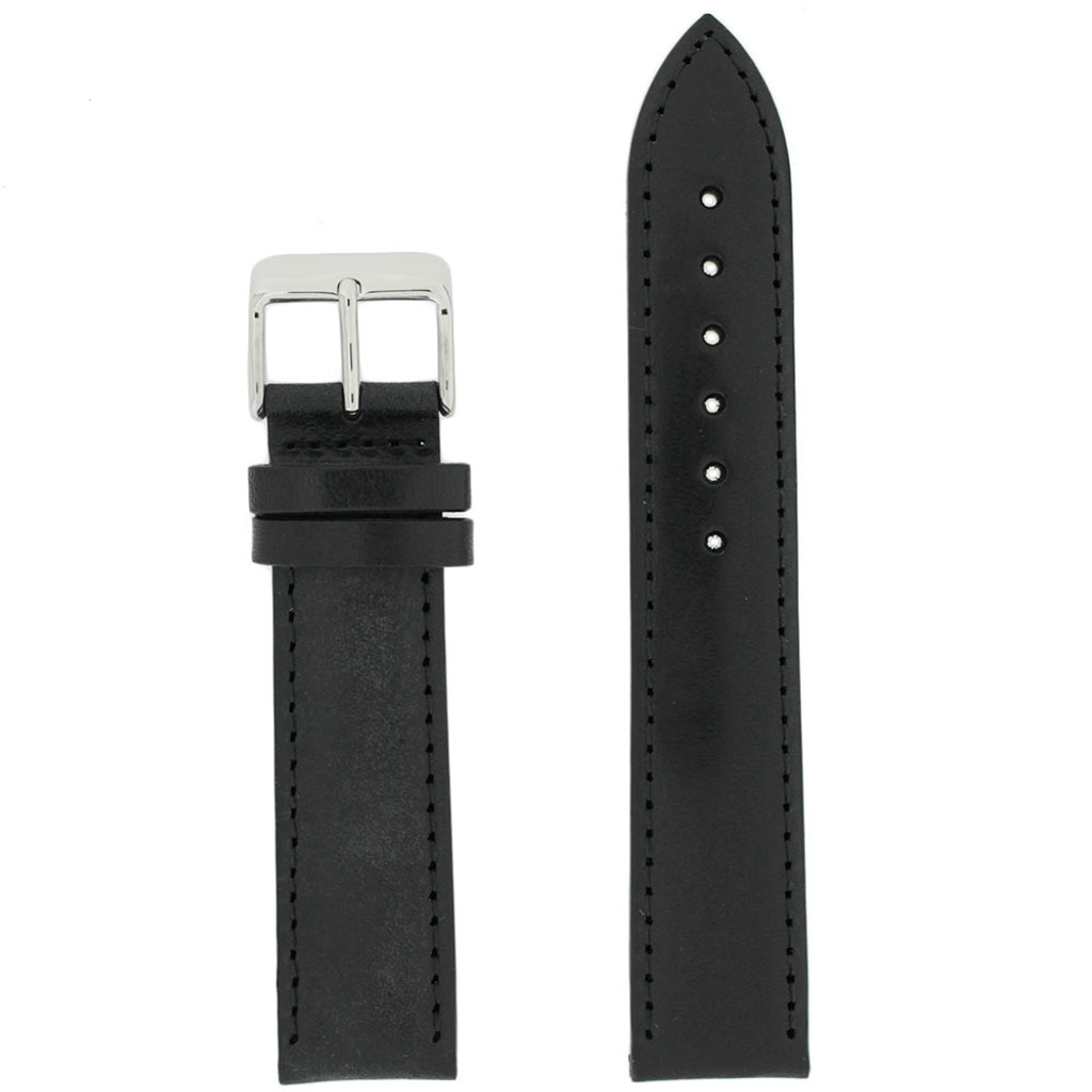 Traditional Black Leather Watch Band | TechSwiss Black Leather Straps | TechSwiss LEA1431 | Main