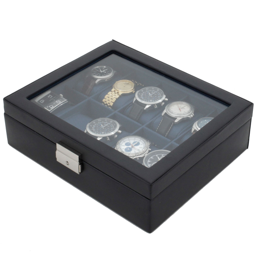 Blue Watch Box | TechSwiss TS3736NY | Black and Blue Watch Box | Front