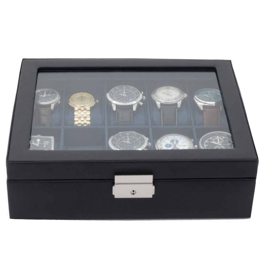 Blue Watch Box | TechSwiss TS3736NY | Black and Blue Watch Box | Forward