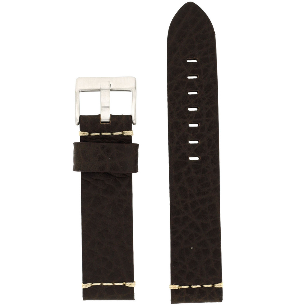 Brown Watch Strap Thick | TechSwiss LEA1376-22SS | Front