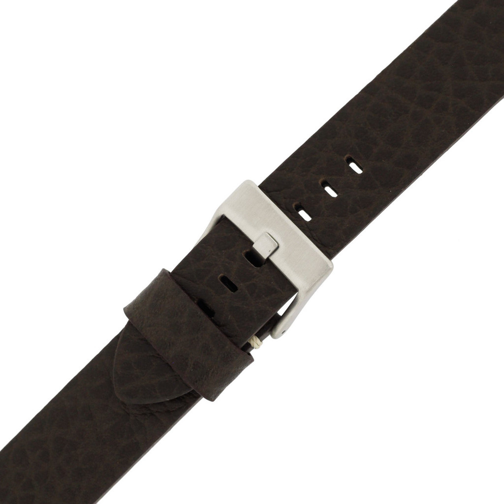 Mens Brown Watch Strap Thick | TechSwiss LEA1376-22SS | Buckled