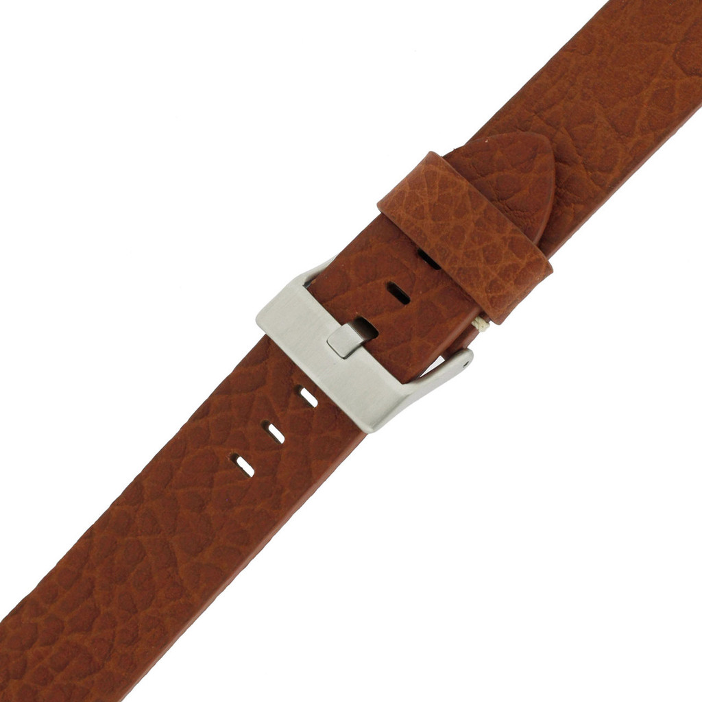 Tan Brown Watch Strap Thick | TechSwiss LEA1378-22SS | Buckled