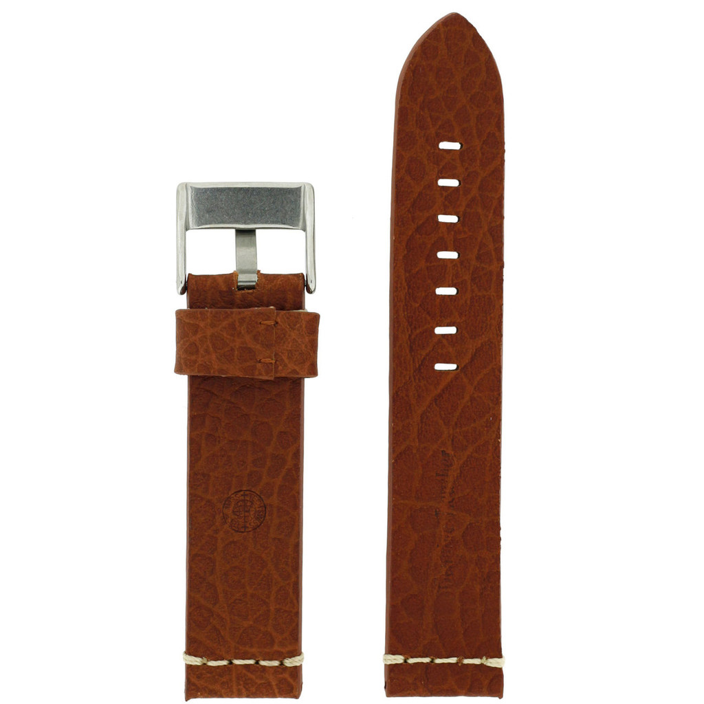 Tan Brown Watch Strap Thick | TechSwiss LEA1378-22SS | Side