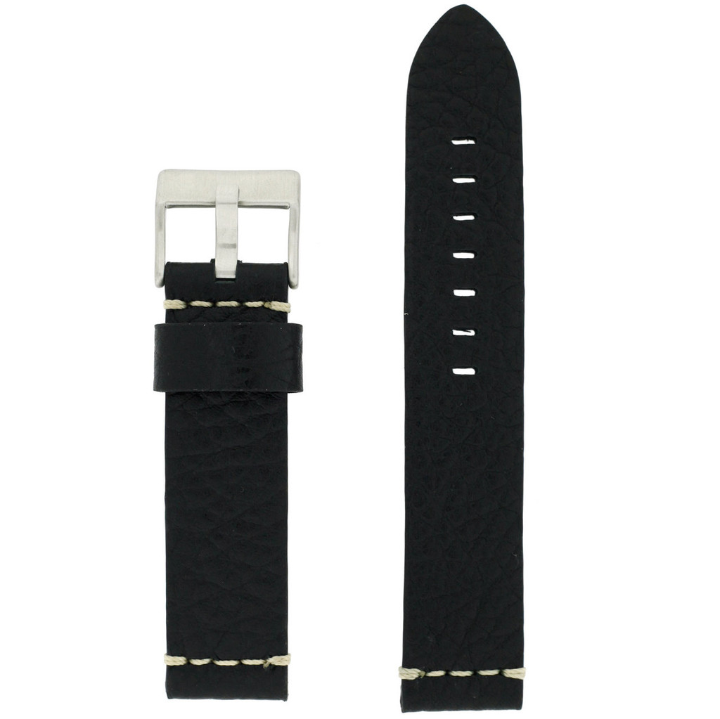 22mm Black Watch Strap Thick | TechSwiss LEA1377-22SS | Front