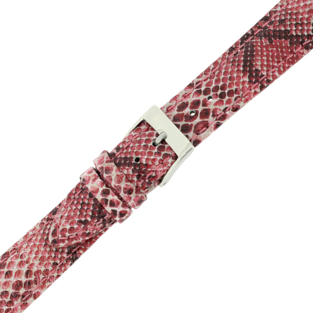 Ladies Pink Watch Band Snake Grain | Tech Swis LEA1122 | Buckled