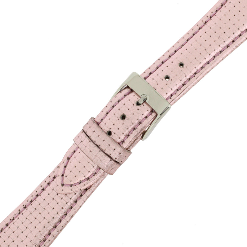 Hot Pink Watch Band Leather | TechSwiss LEA380 | Buckled | Perforated Shiny Pink Leather Watch Strap
