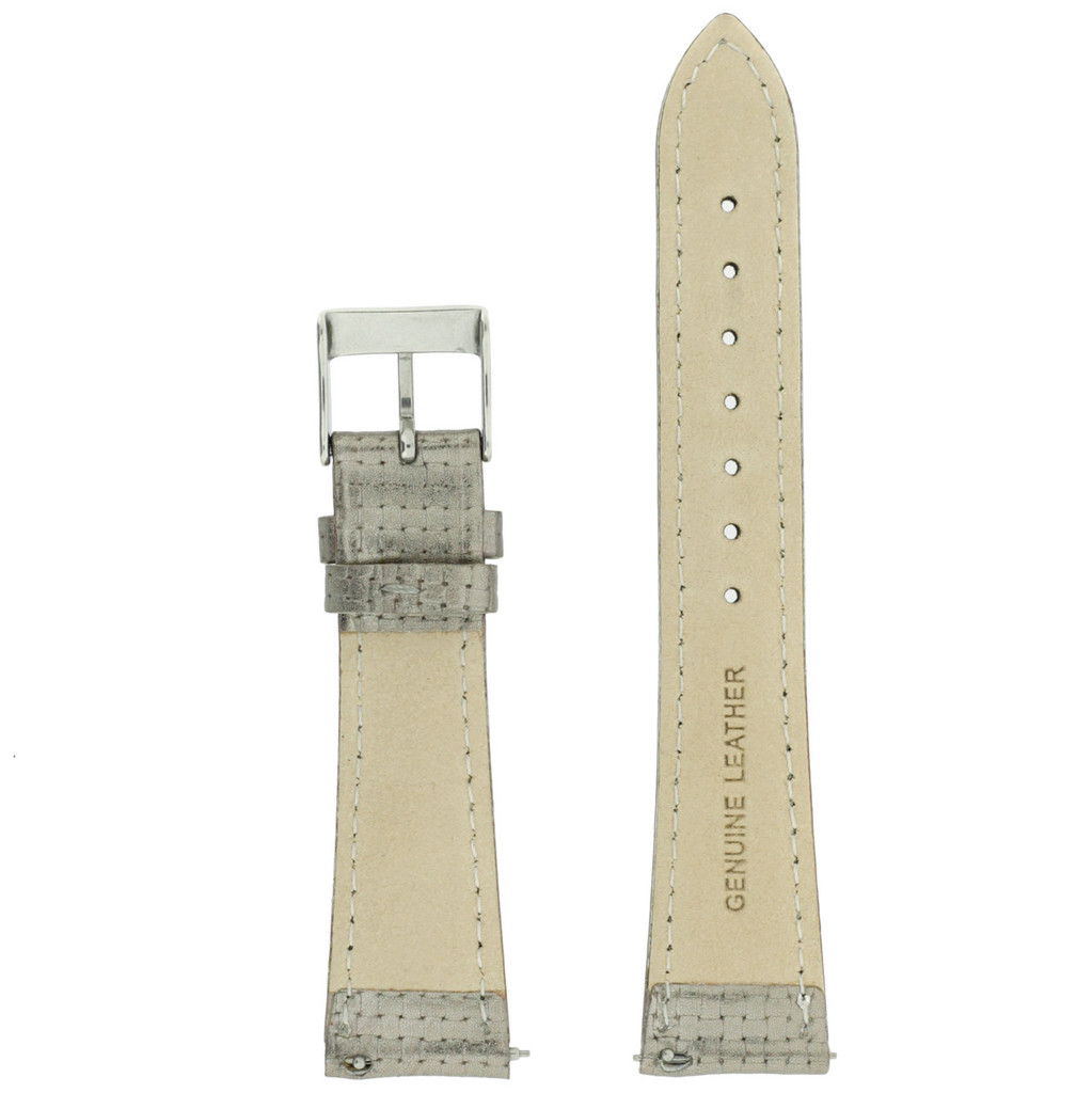 Metallic Silver Watch Band Leather | TechSwiss LEA381 | Inside