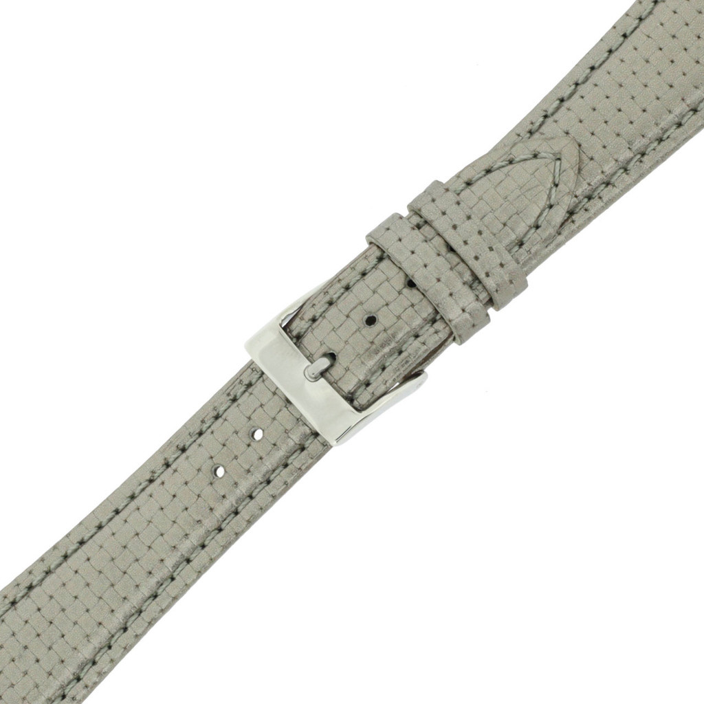 Silver Metallic Watch Band Leather | TechSwiss LEA381 | Buckled