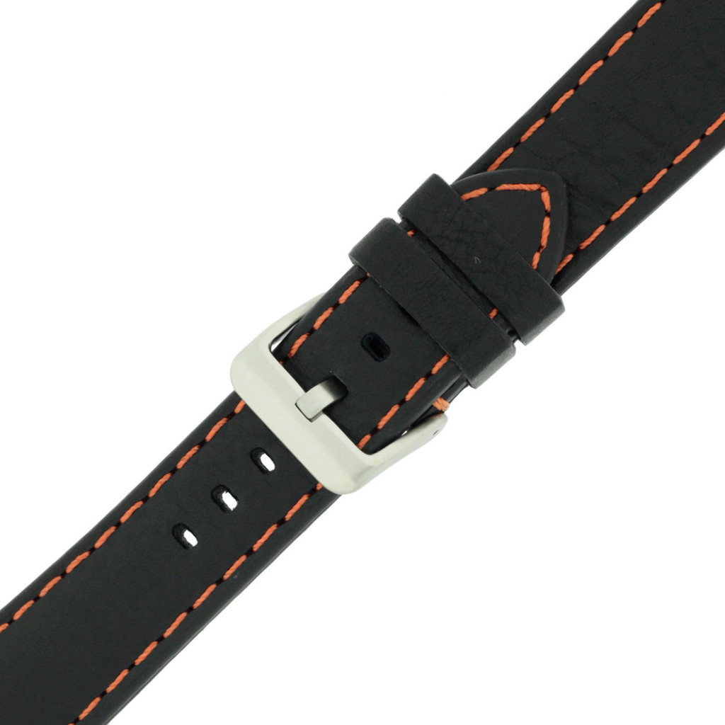 Sport Orange Stitching Black Padded Watch Strap | TechSwiss LEA583 | Buckled