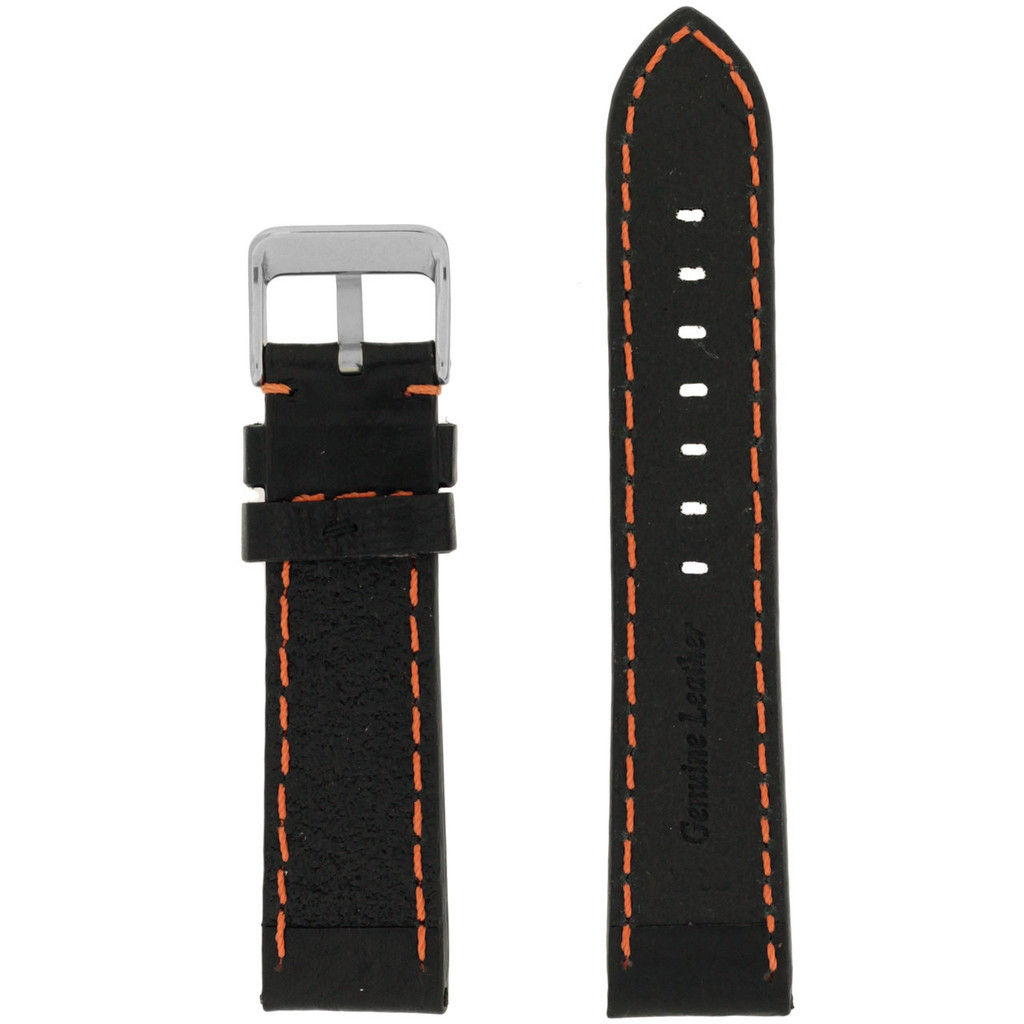 Orange Stitching Black Padded Watch Strap | TechSwiss LEA583 | Front