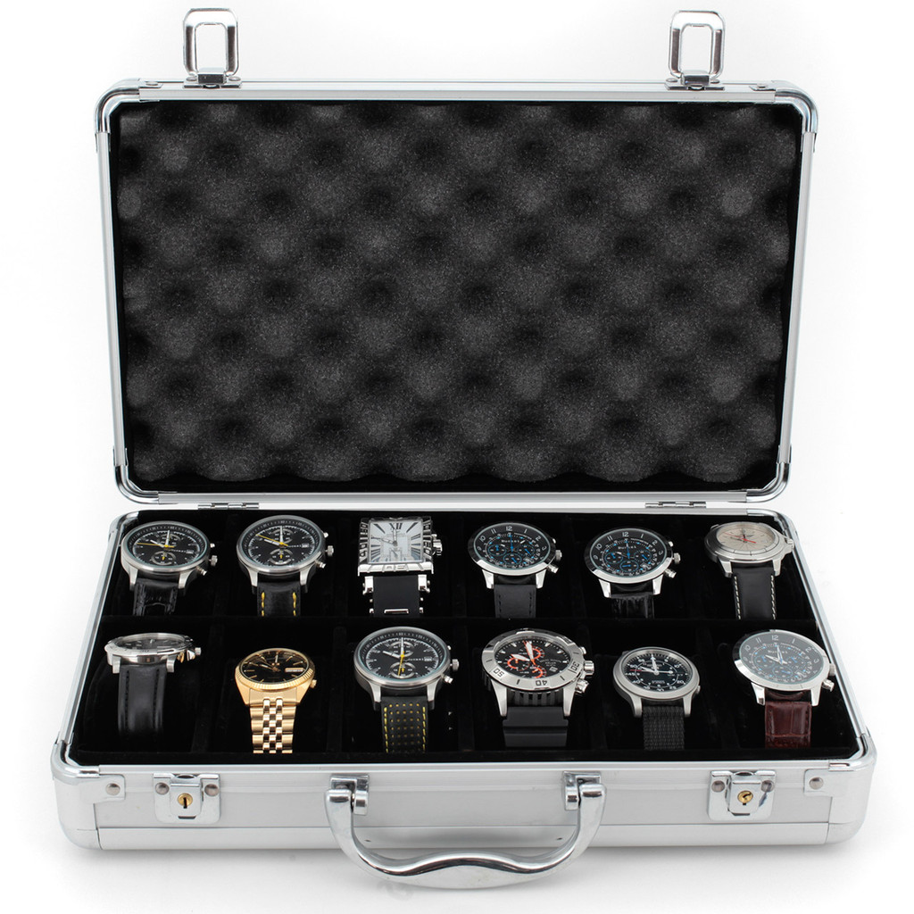 Aluminium Watch Case for 12 Watches Silver