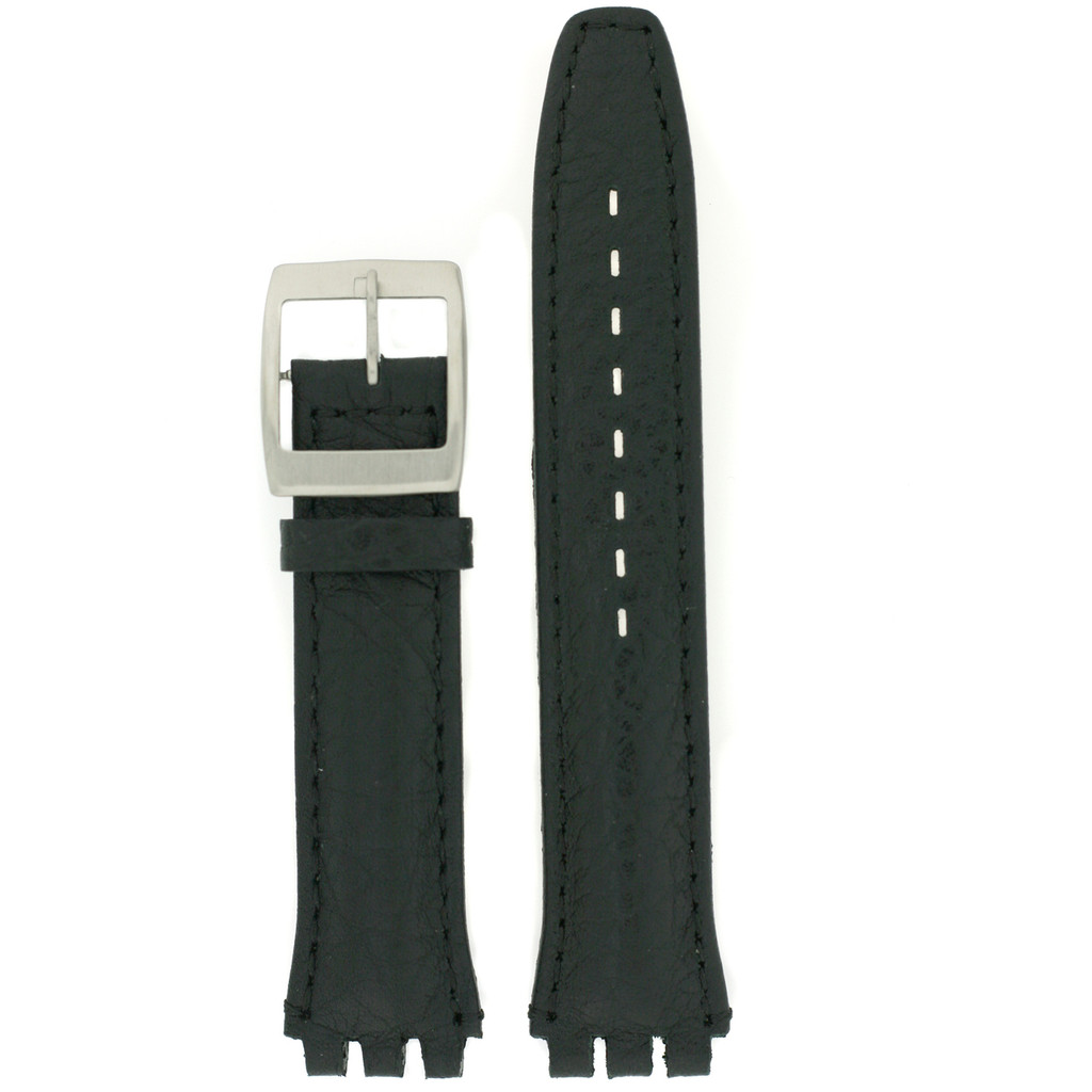 Swatch Black Leather Band   TechSwiss LEA337-17SS   Front