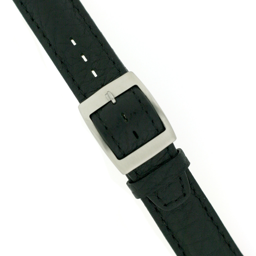 Swatch Black Leather Band   TechSwiss LEA337-17SS   Buckled