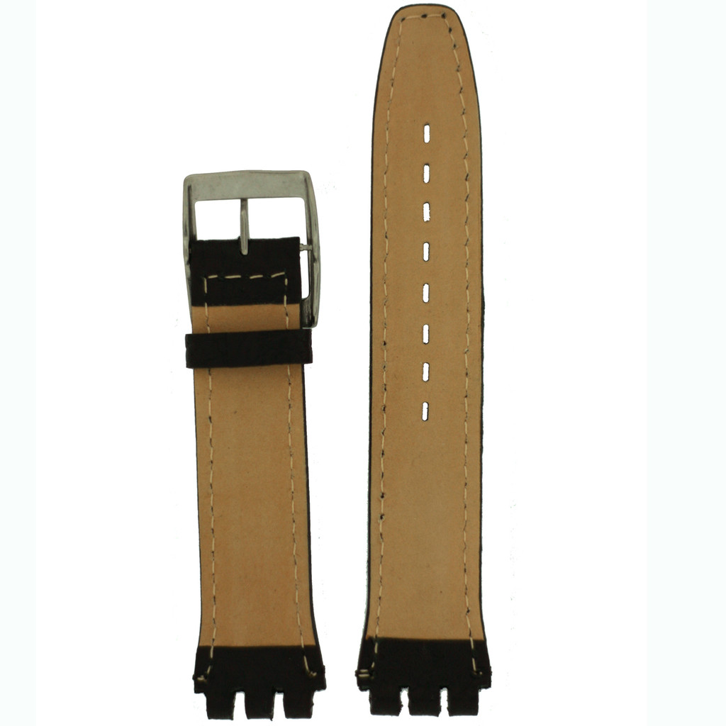 Swatch Black Leather Band   TechSwiss LEA337-17SS   Side