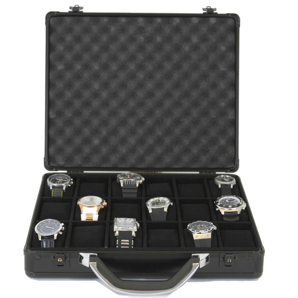 Watch Box Aluminum Metal Case 18 Watches Large Black ALBX18BK-TEX open front