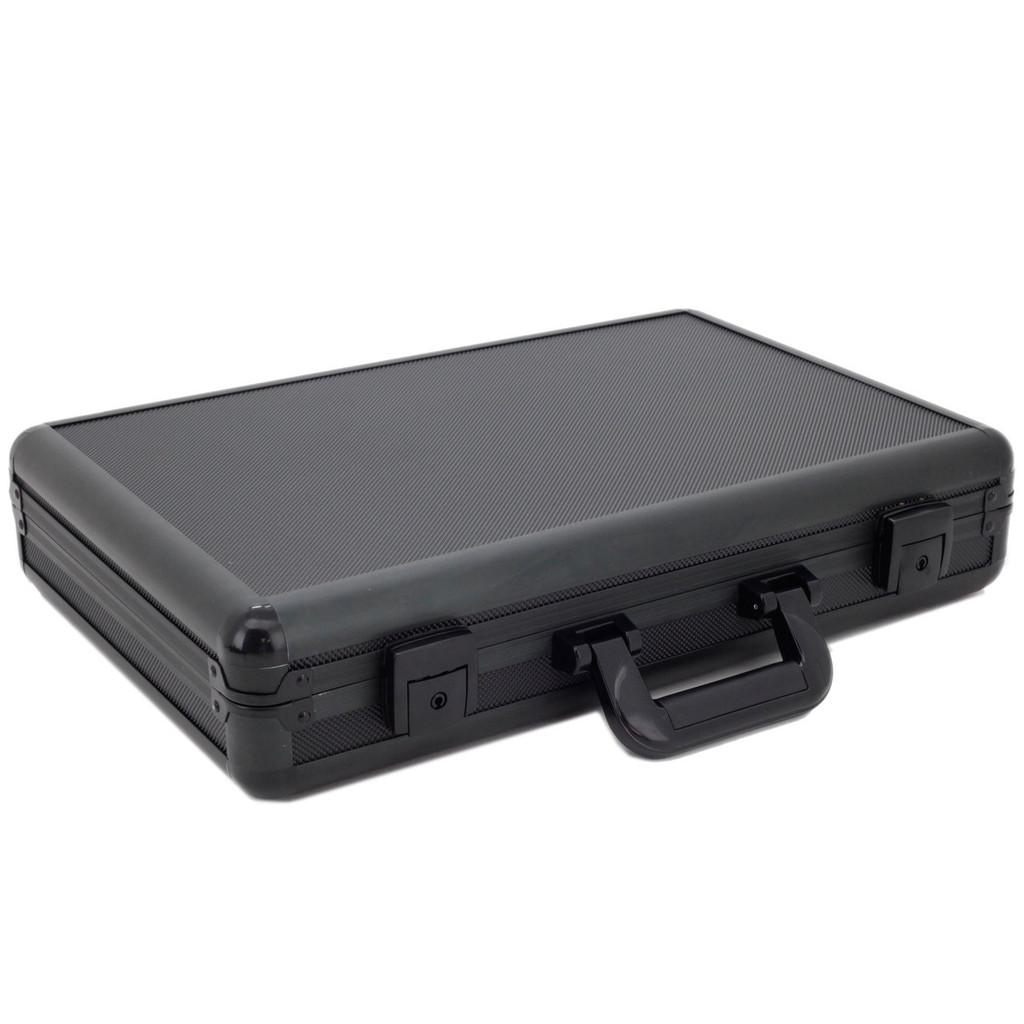 Watch Box Aluminum Metal Case 18 Watches Large Black ALBX18BK-TEX closed