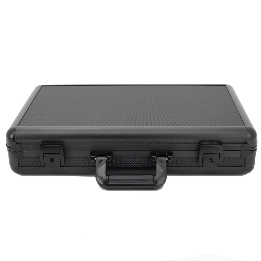 Watch Box Aluminum Metal Case 18 Watches Large Black ALBX18BK-TEX closedfront