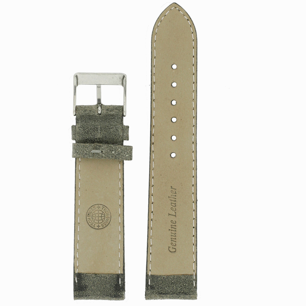 Grey Vintage Leather Watch Strap   Textured Grey Leather Watch Band   Distressed Gray Leather Watch Band   TechSwiss Grey Watch Strap   Lining