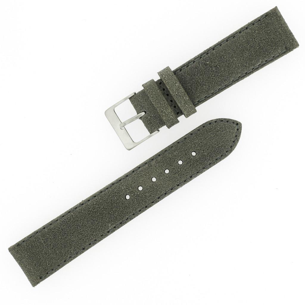 Grey Vintage Leather Watch Strap | Textured Grey Leather Watch Band | Distressed Gray Leather Watch Band | TechSwiss Grey Watch Strap | Strap