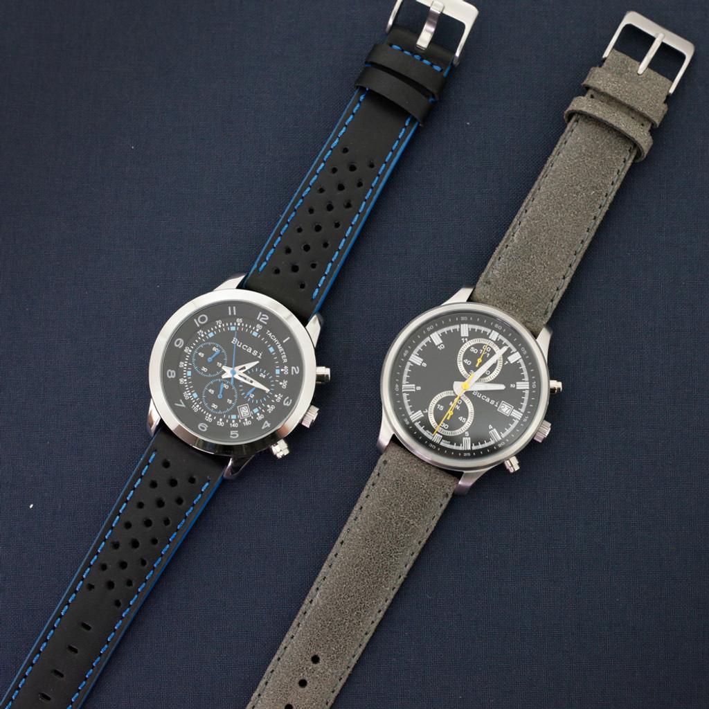 Grey Vintage Leather Watch Strap   Textured Grey Leather Watch Band   Distressed Gray Leather Watch Band   TechSwiss Grey Watch Strap   Sample 2