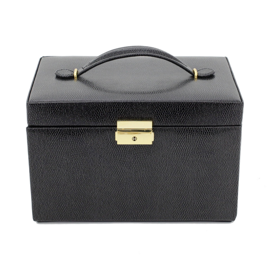 Black Leather Jewelry Box   TechSwiss Ladies Jewelry Case TS382BLK   Closed
