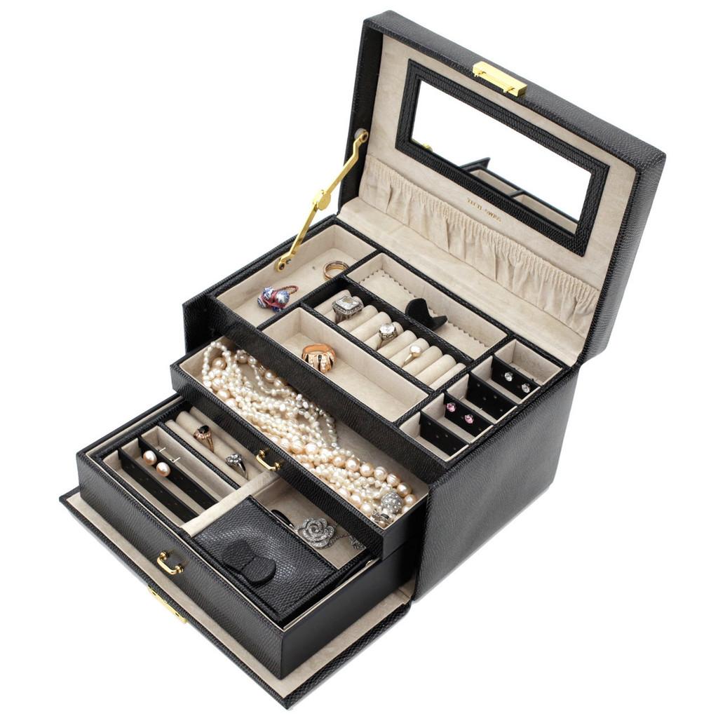 Black Leather Jewelry Box | TechSwiss Ladies Jewelry Case TS382BLK | Open