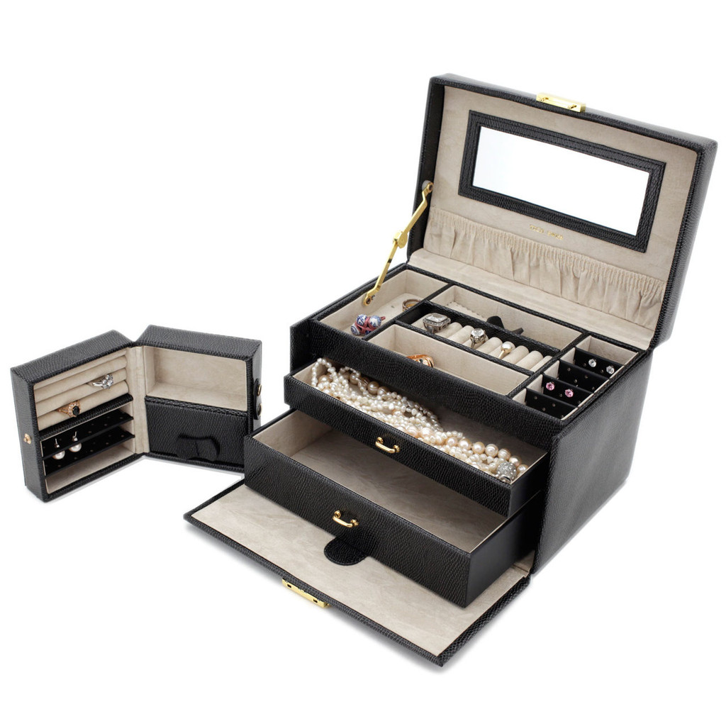 Black Leather Jewelry Box   TechSwiss Ladies Jewelry Case TS382BLK   Travel Case