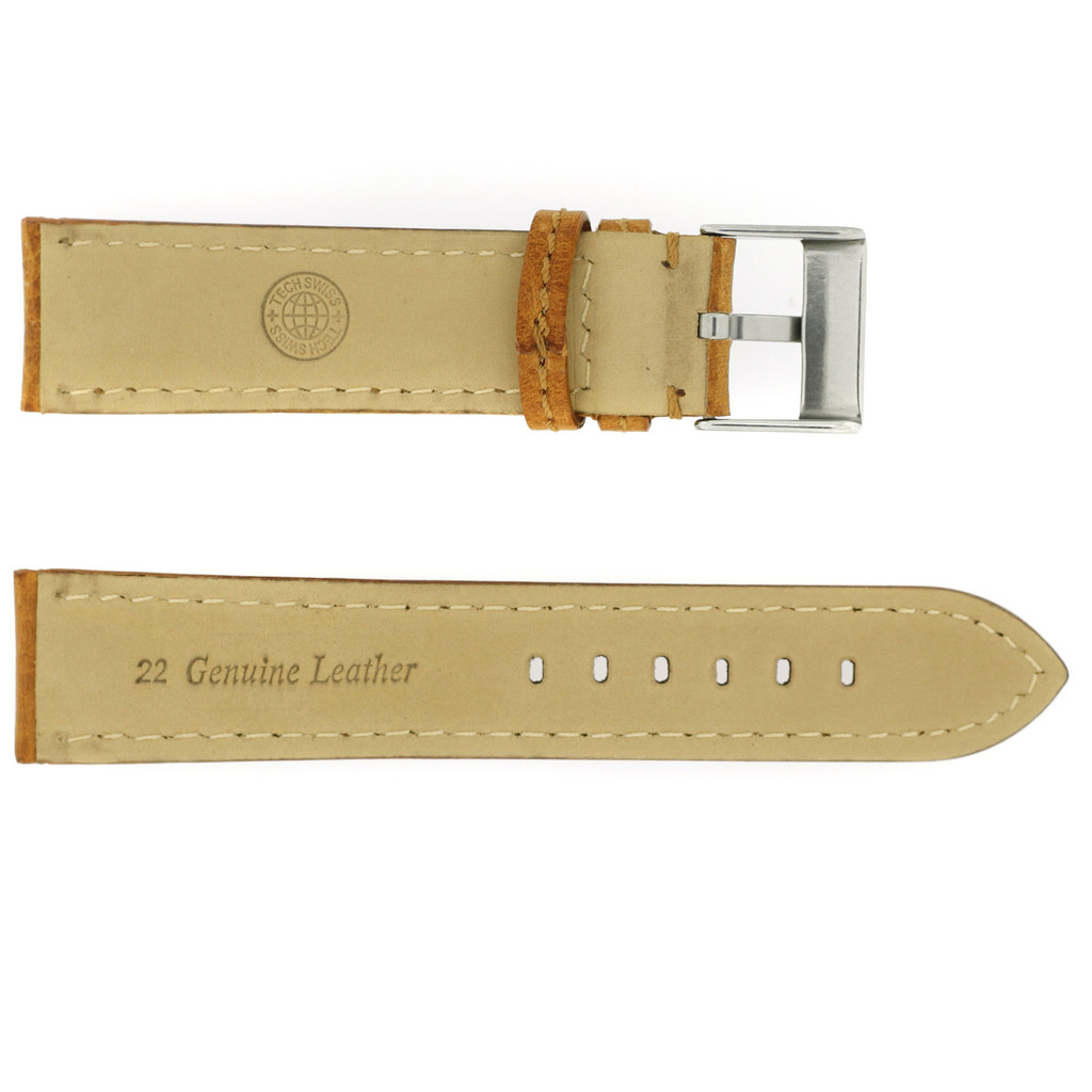 Leather Watch Band Thick Padded Tan Brown Stitching LEA356 | TechSwiss | Rear