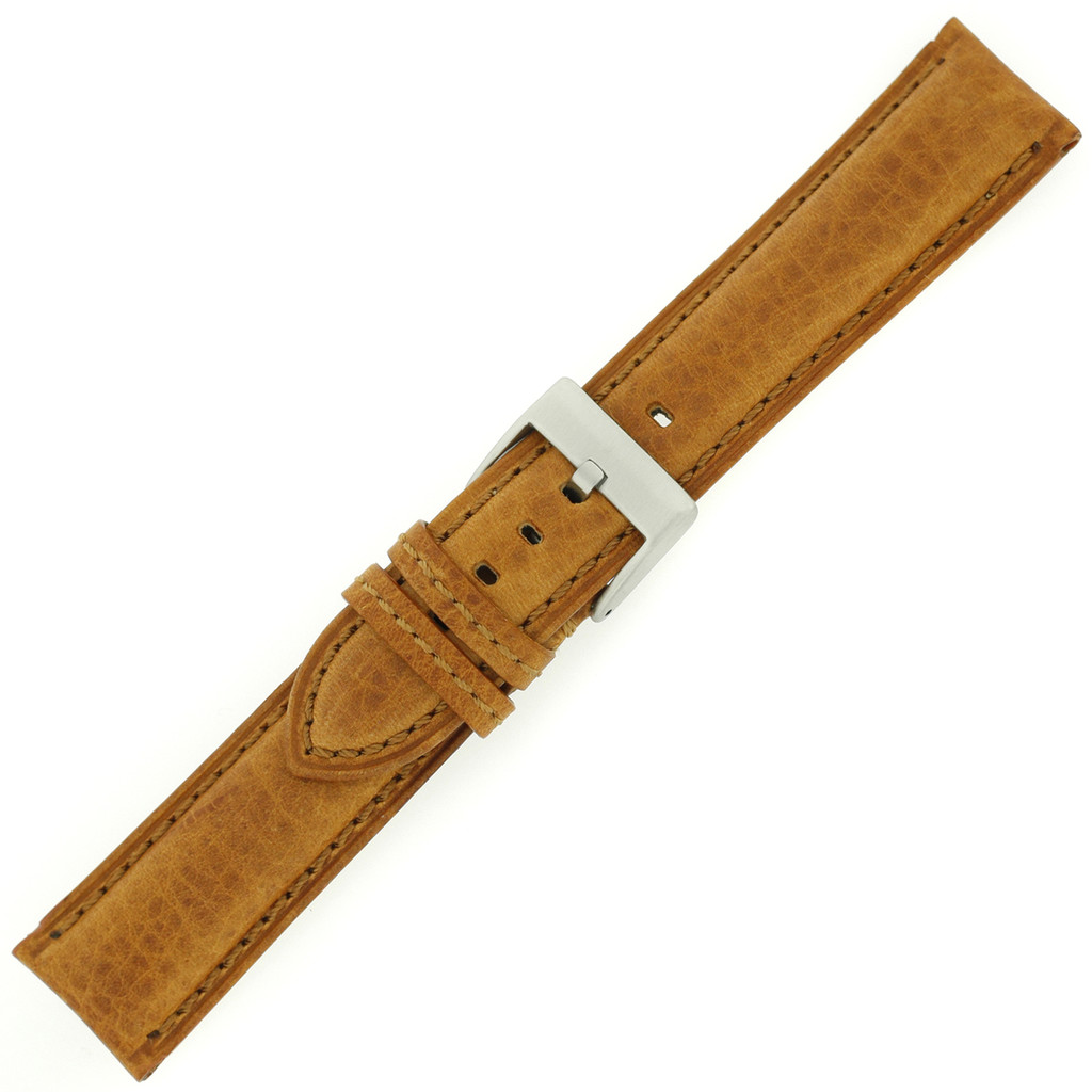 Leather Watch Band Thick Padded Tan Brown Stitching LEA356 | TechSwiss | Buckle